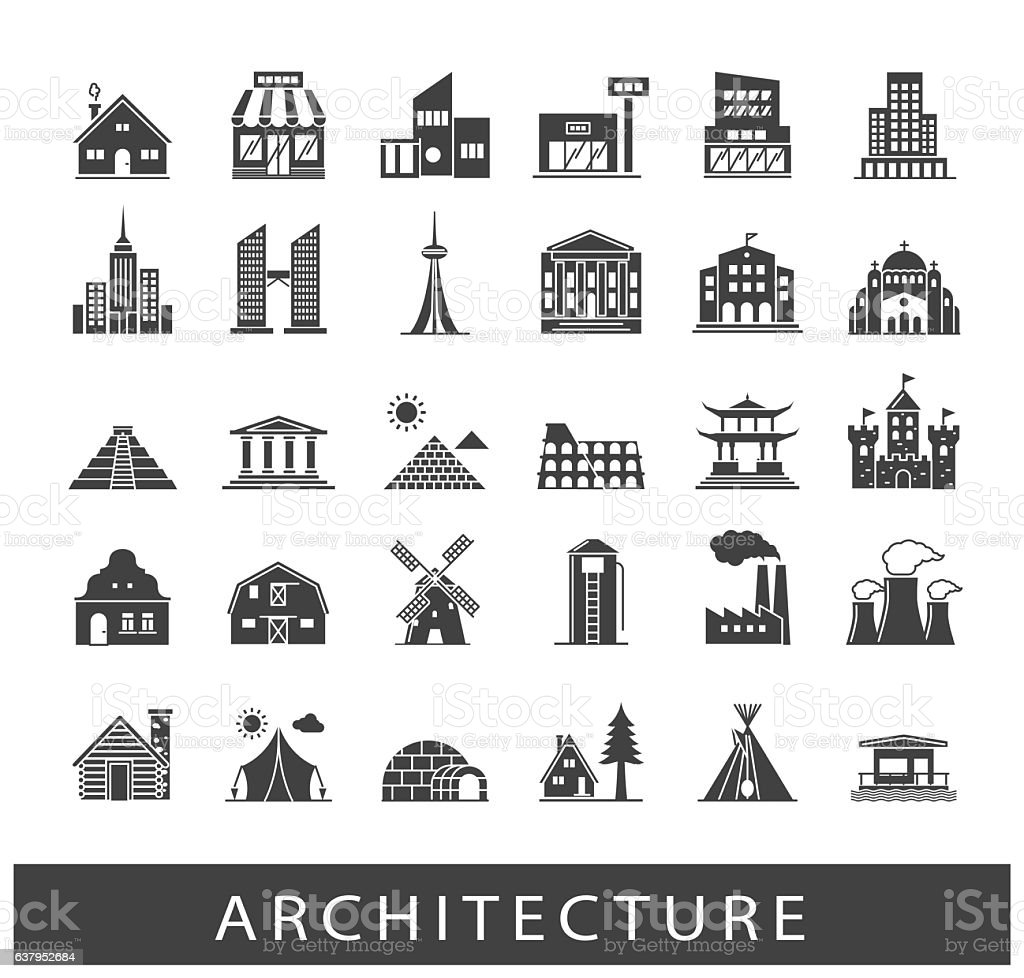 Buildings and architecture icons set vector art illustration