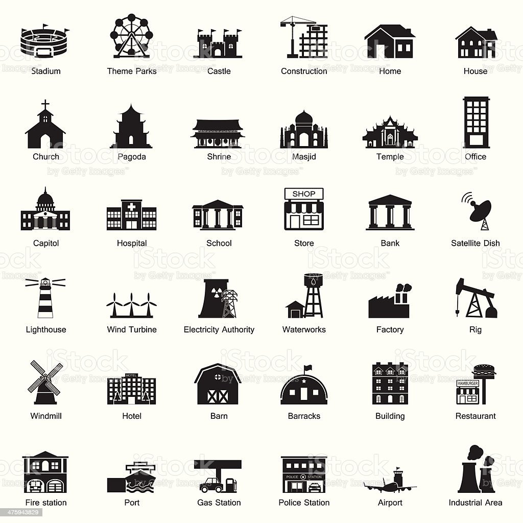 Buildings and city icon set royalty-free stock vector art