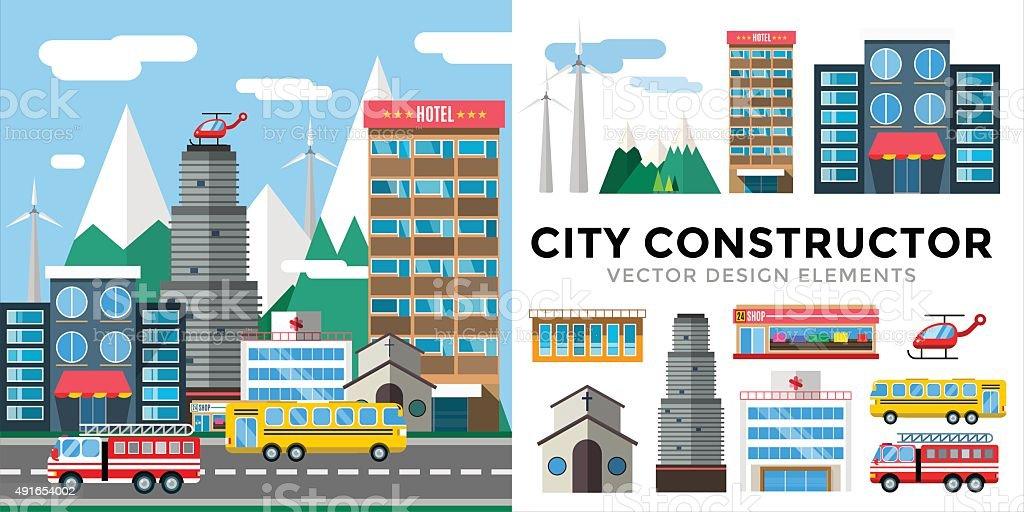 Buildings and city transport flat style illustration vector art illustration