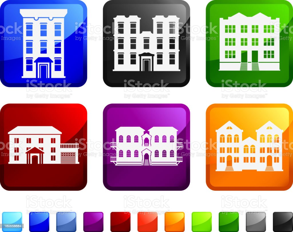 Buildings and Condo royalty free vector icon set stickers vector art illustration