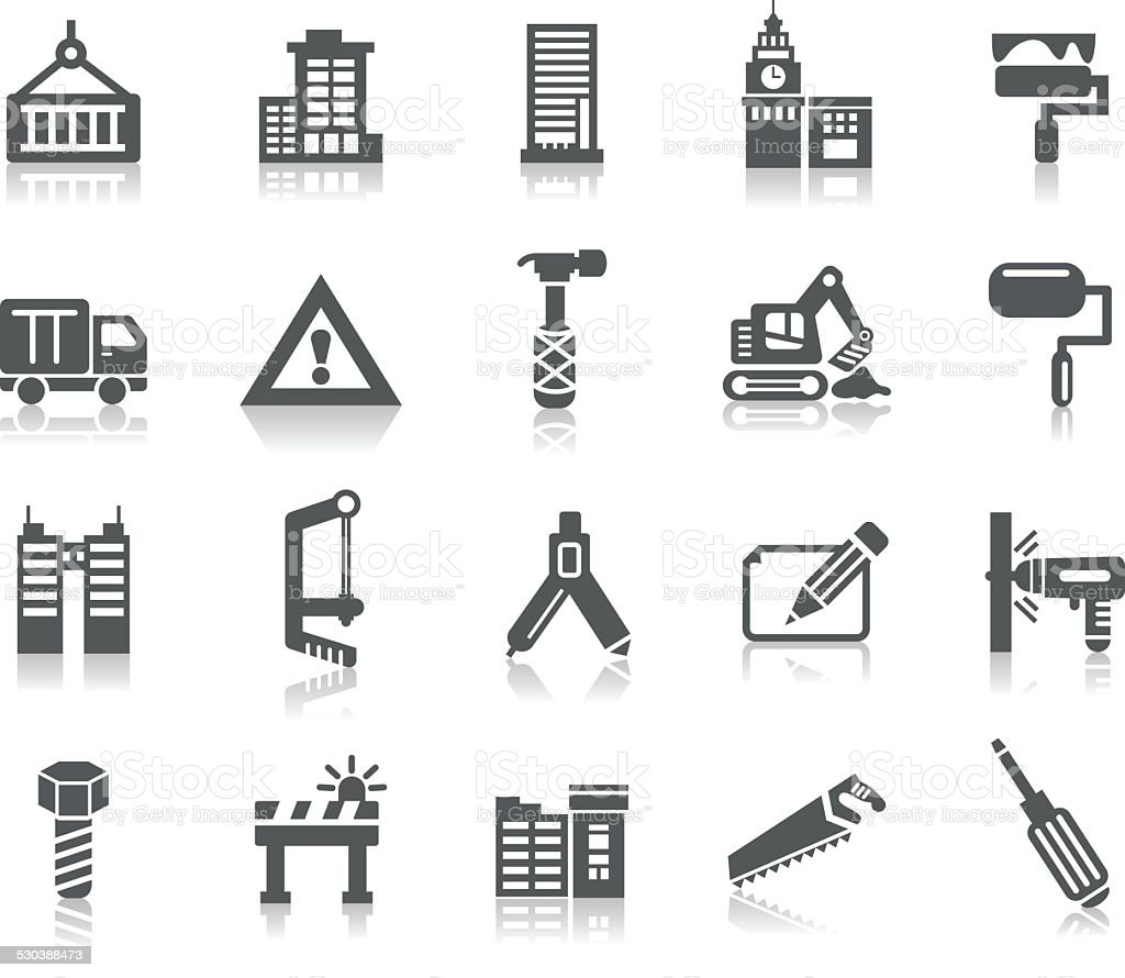Buildings and Construction Icons vector art illustration