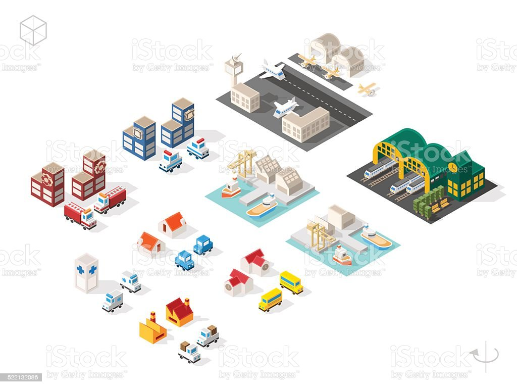 Buildings and Vehicles with Shadows on White Background. vector art illustration