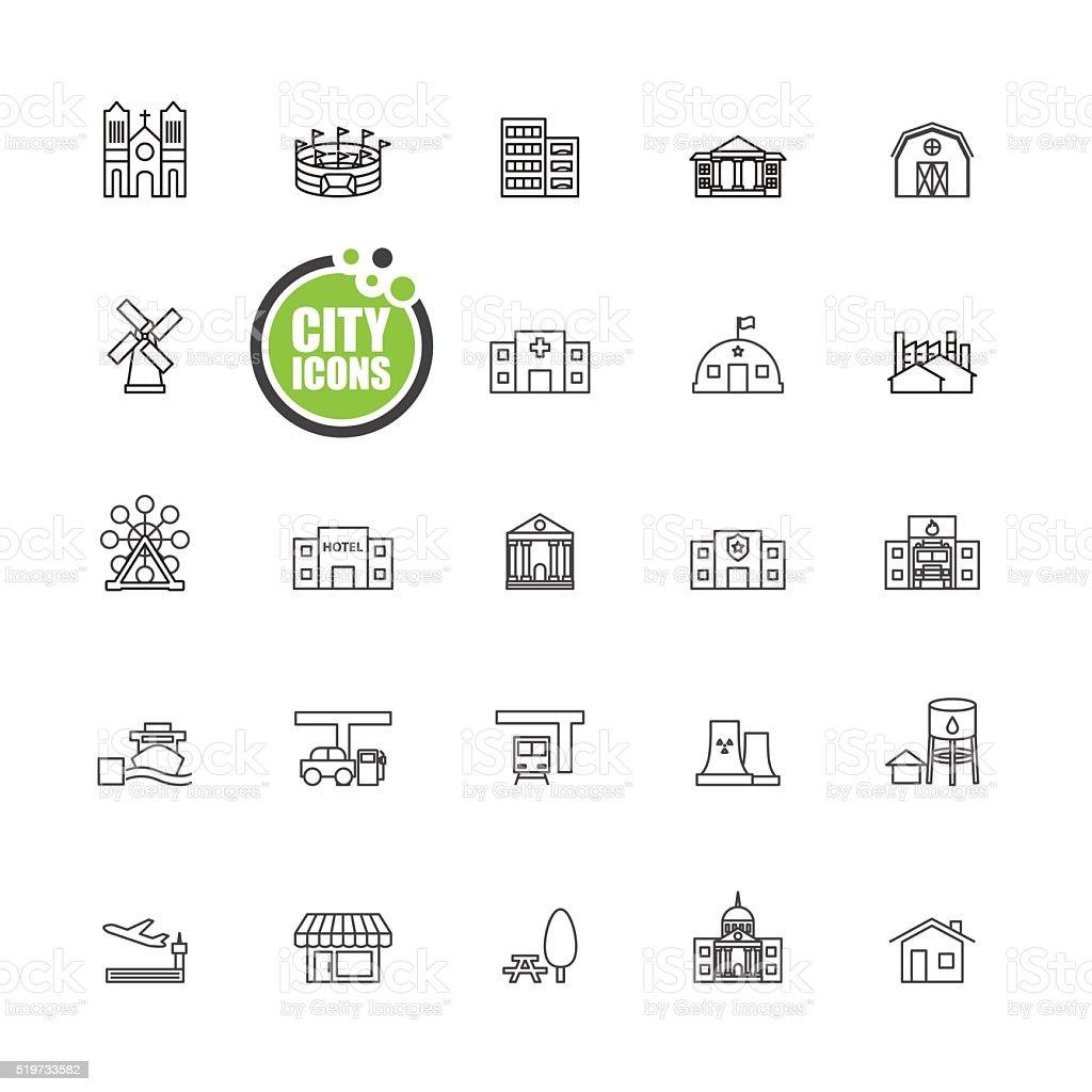 Buildings city  vector illustration  set vector art illustration