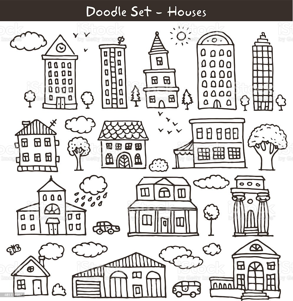 buildings doodles vector art illustration