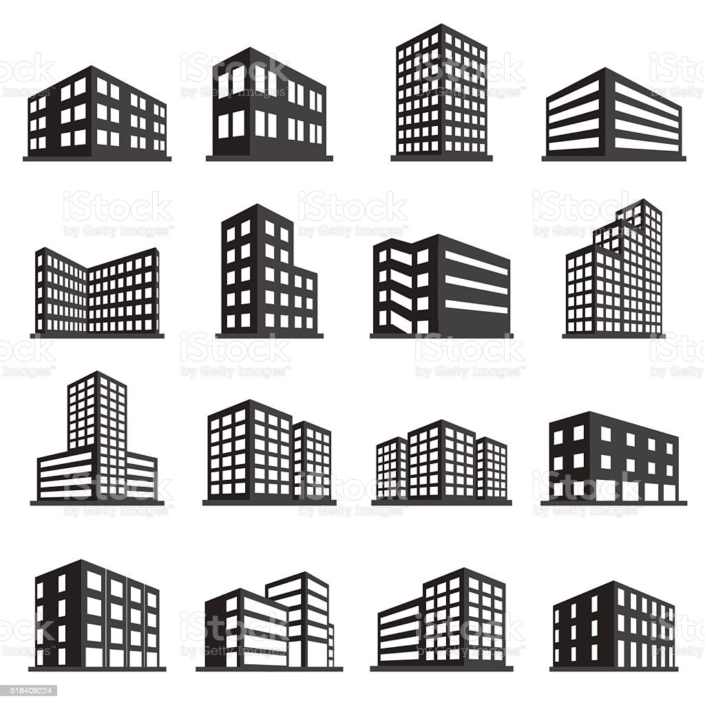 Buildings icon and office icon set vector art illustration