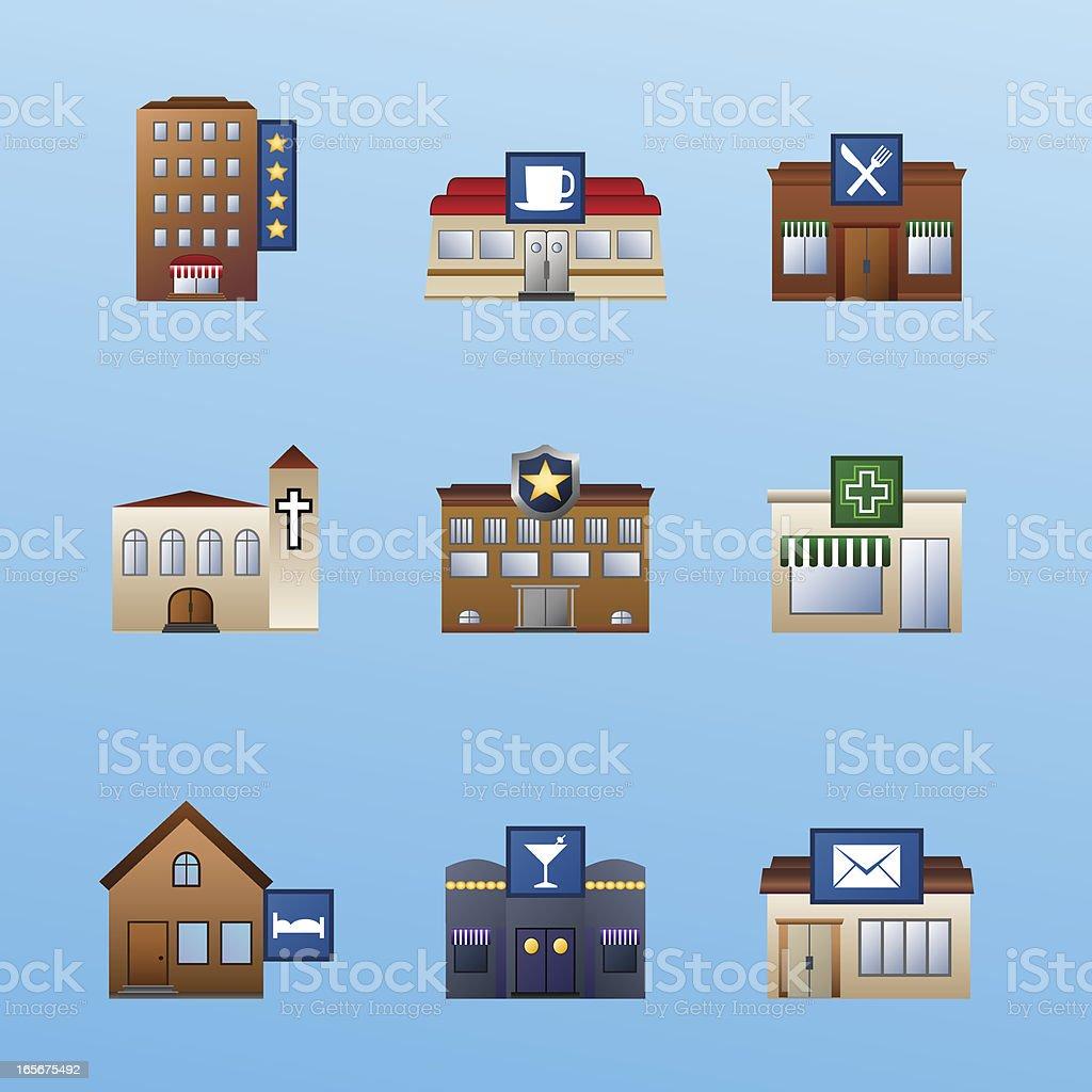 buildings icon set 3 vector art illustration