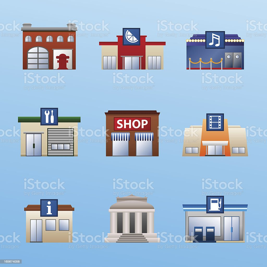 buildings icon set 4 vector art illustration