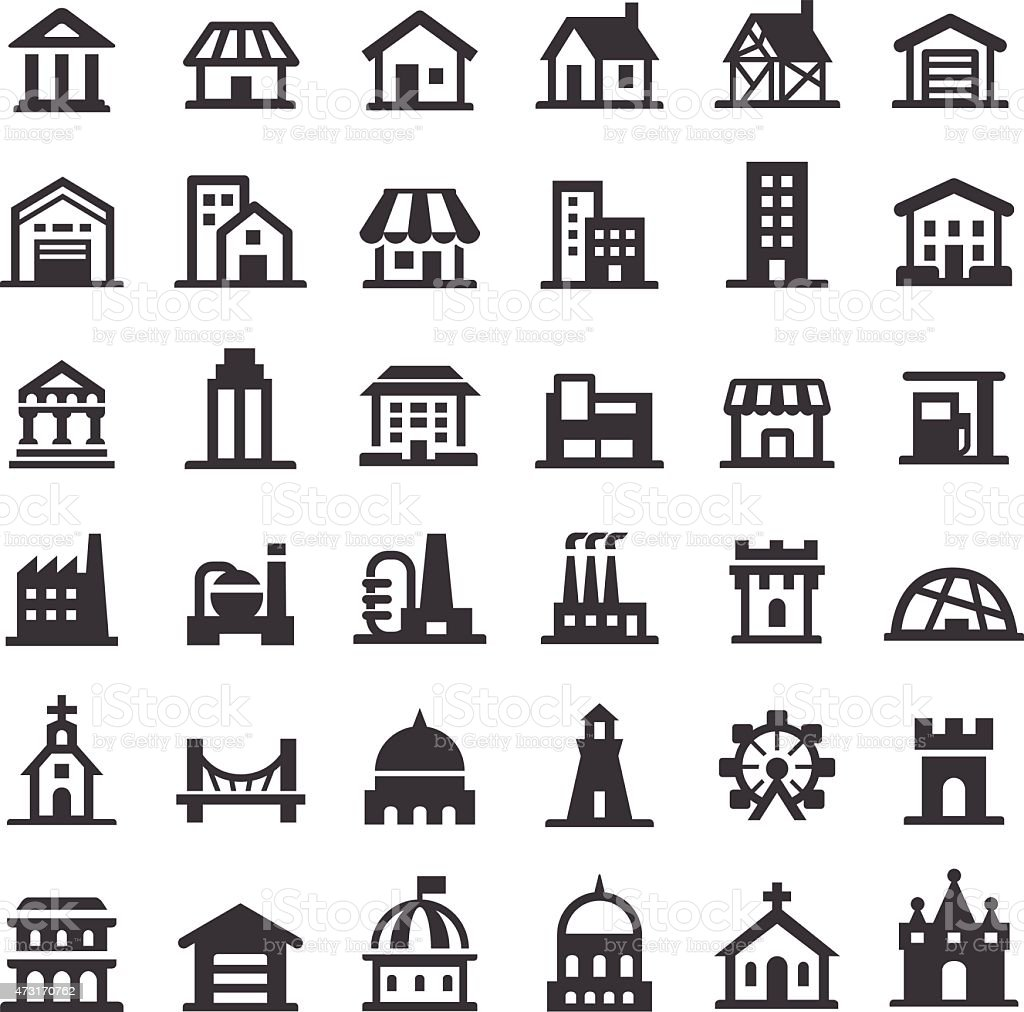 Buildings Icons - Big Series vector art illustration