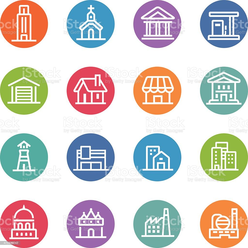 Buildings Icons - Circle Line Series vector art illustration