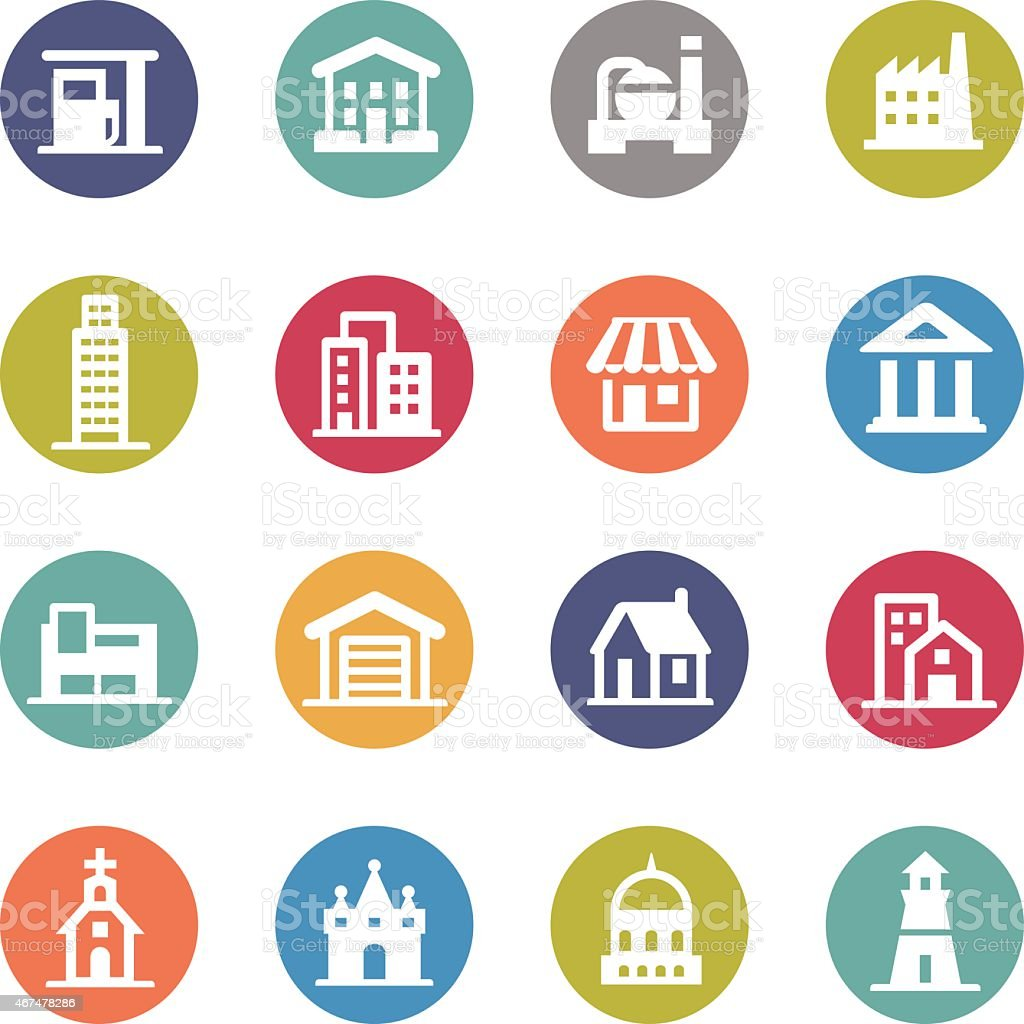 Buildings Icons - Circle Series vector art illustration
