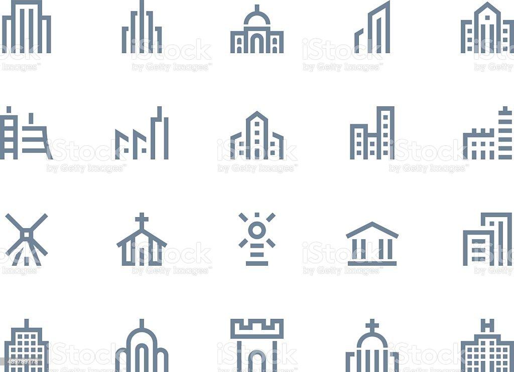 Buildings icons. Line series vector art illustration