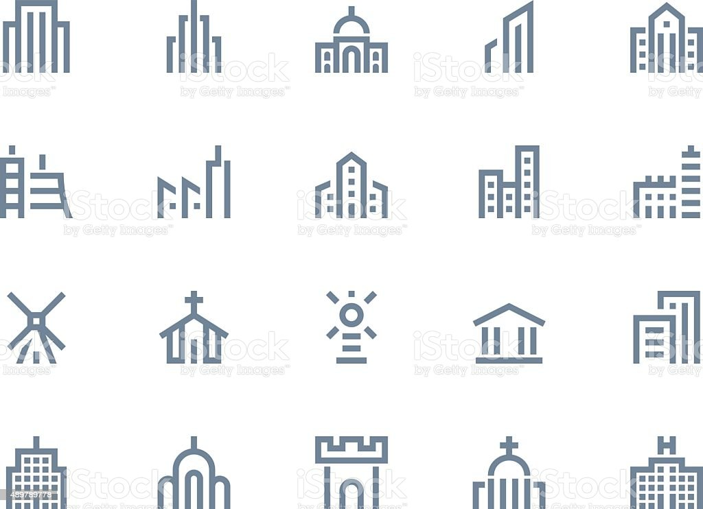 Buildings icons. Line series vector art illustration