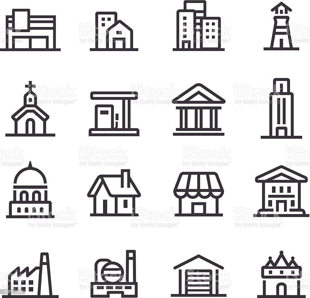 Buildings Icons - Line Series vector art illustration