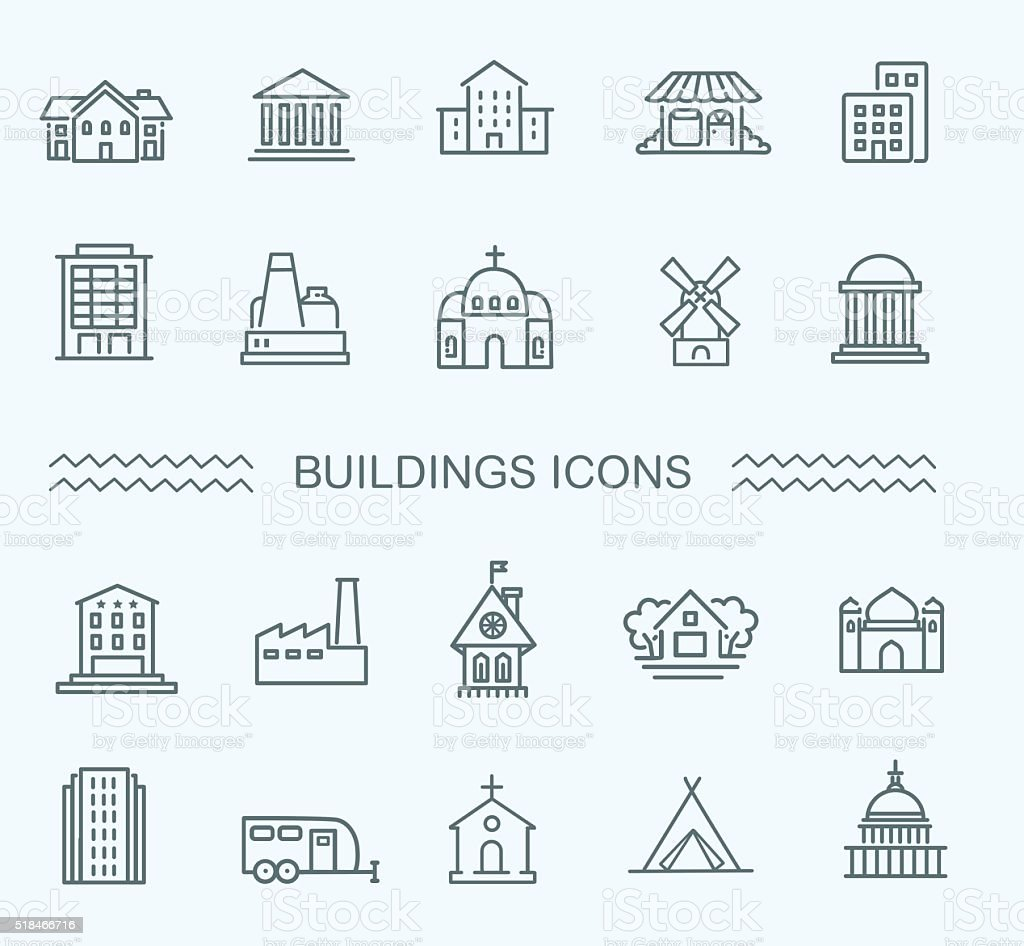 buildings icons set vector art illustration