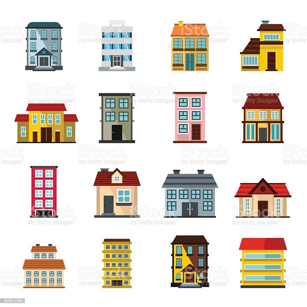 Buildings set in cartoon flat style vector art illustration