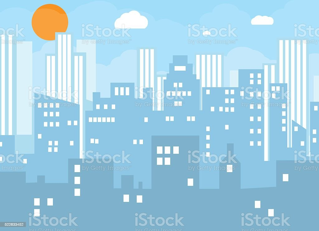 Buildings silhouette cityscape. vector art illustration