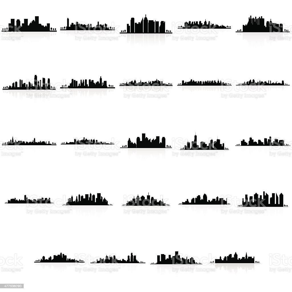 Buildings silhouettes vector art illustration