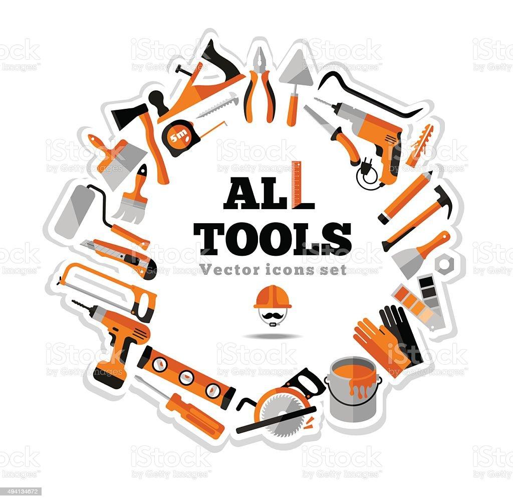 Buildings tools icons set. Flat design symbols. vector art illustration