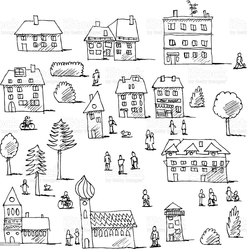 Buildings Trees People Urban Life Set Drawing vector art illustration