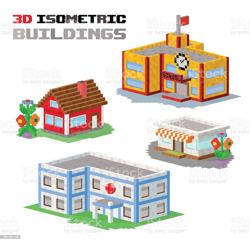 Buildings vector illustration shop, hospital, school, family house vector art illustration