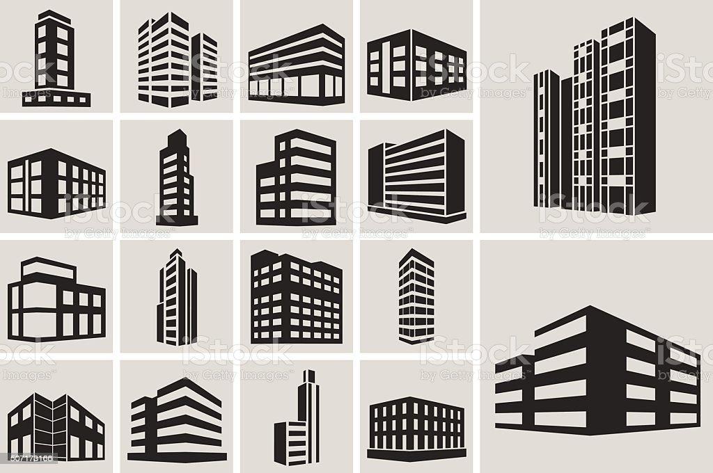 Buildings vector web icons set vector art illustration