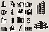 Buildings vector web icons set