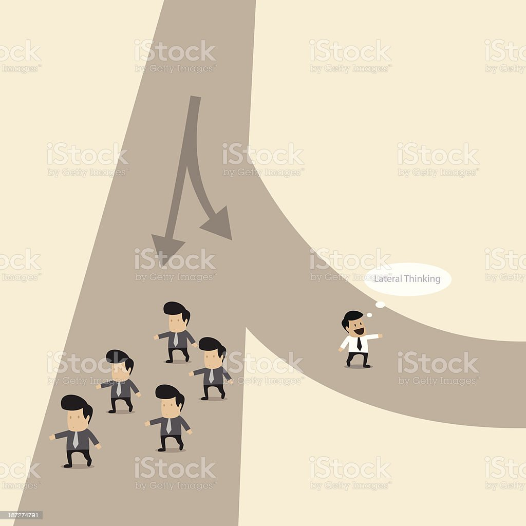 Buinesman choose his own way and walks apart from another royalty-free stock vector art