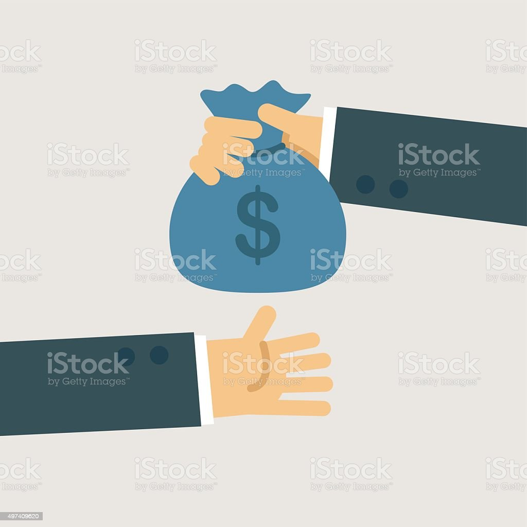Buiness man hand giving money to other hand vector art illustration