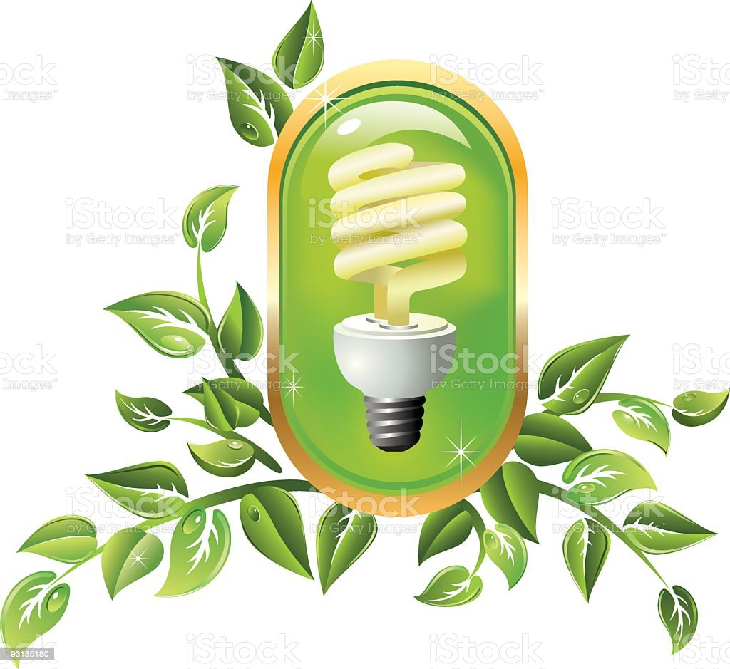 CFL Bulb and Green Leaves Illustration royalty-free stock vector art
