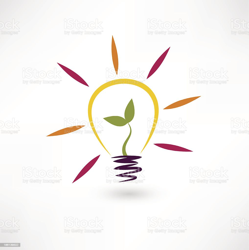 Bulb and plant icon royalty-free stock vector art