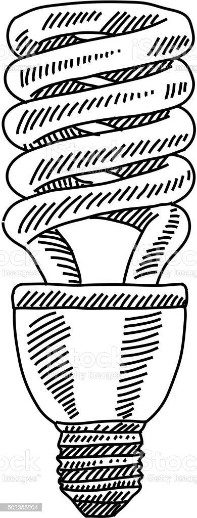 CFL Bulb Drawing vector art illustration