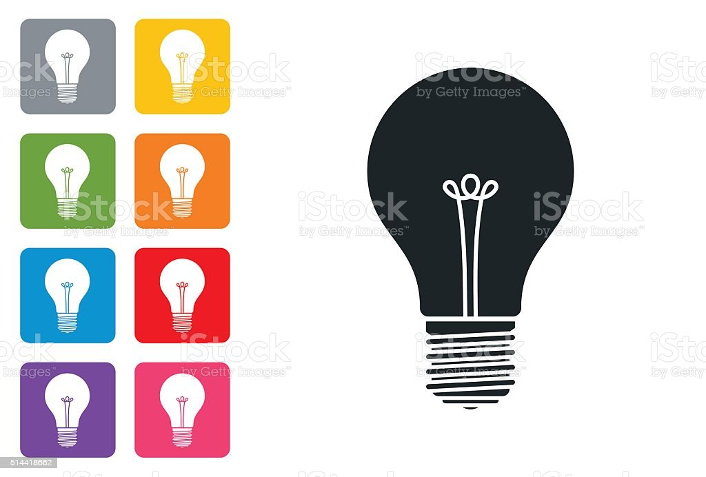Bulb Icon Flat on coloured button - design elements stock photo