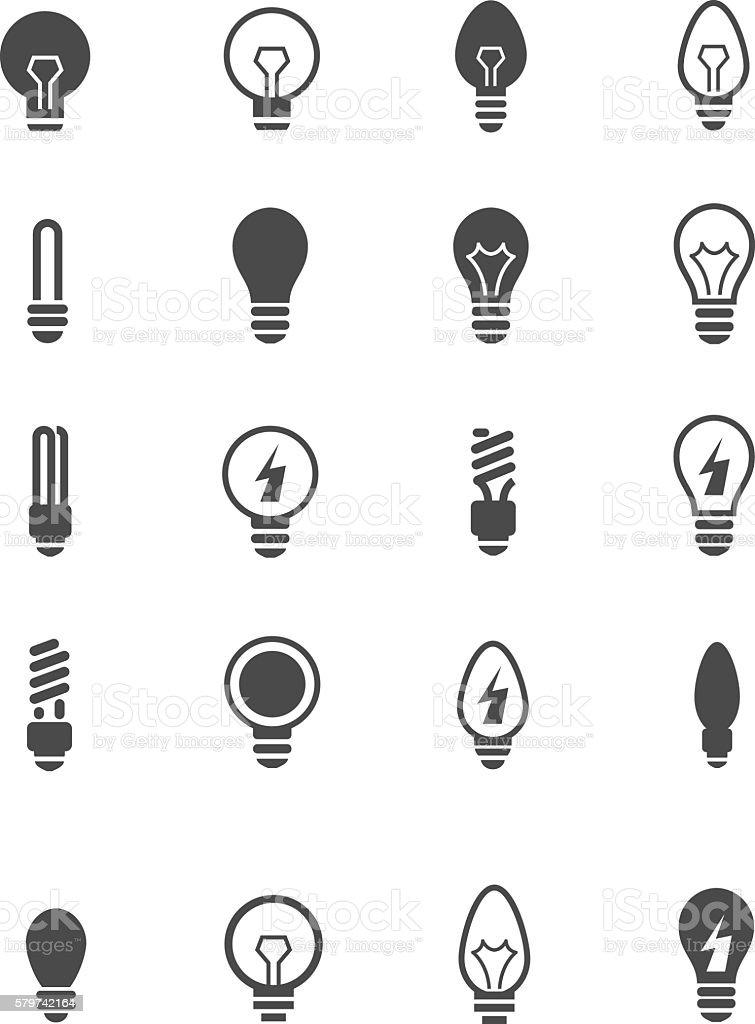 Bulb icon set vector art illustration