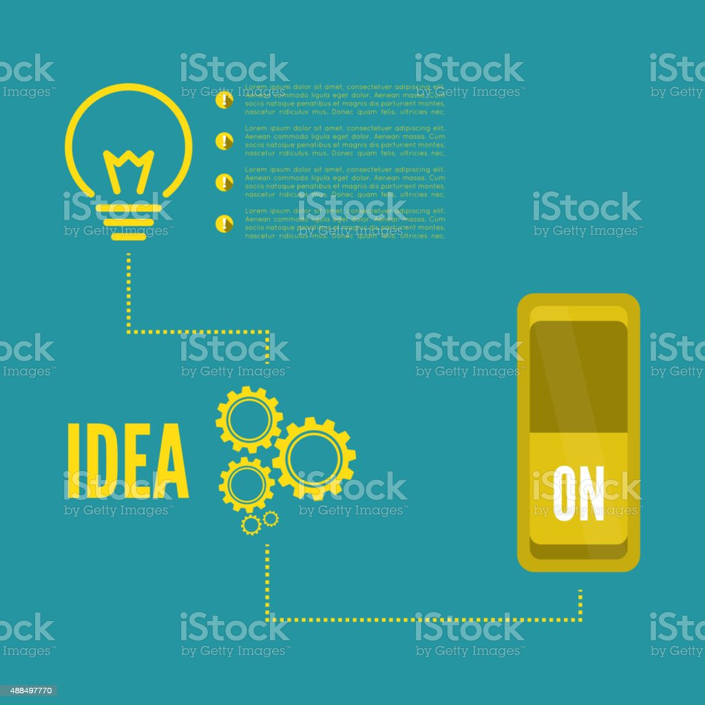 Bulb light idea with switch and gears vector art illustration