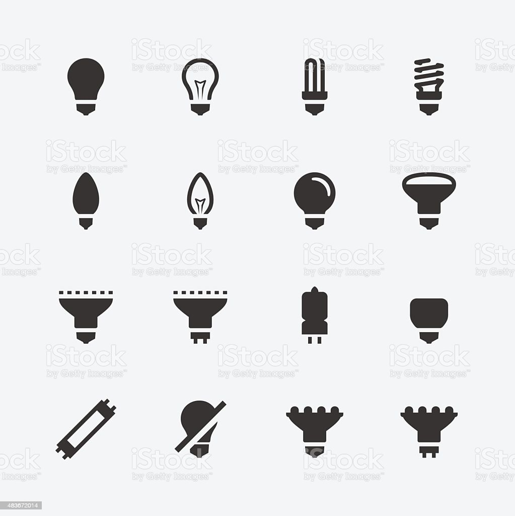 Bulb shapes and types vector icons set vector art illustration