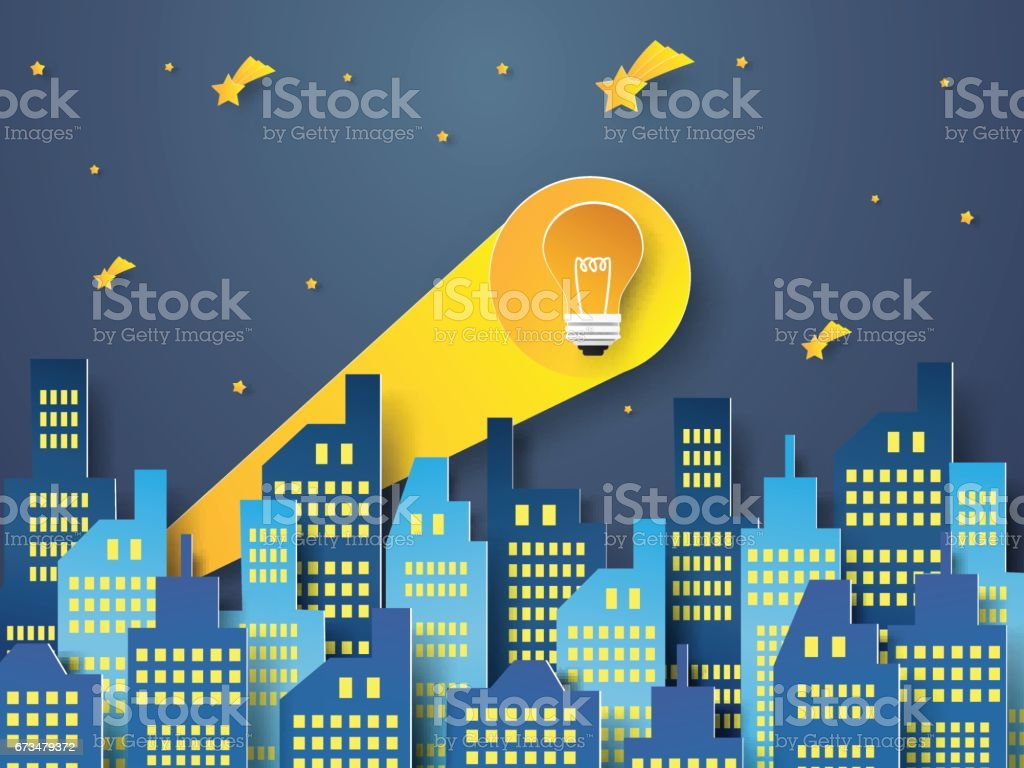 bulb signal from downtown vector art illustration