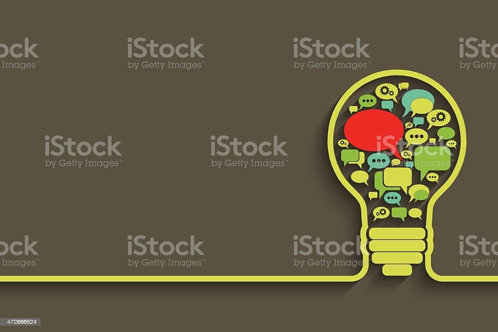 bulb with bubble speech vector art illustration