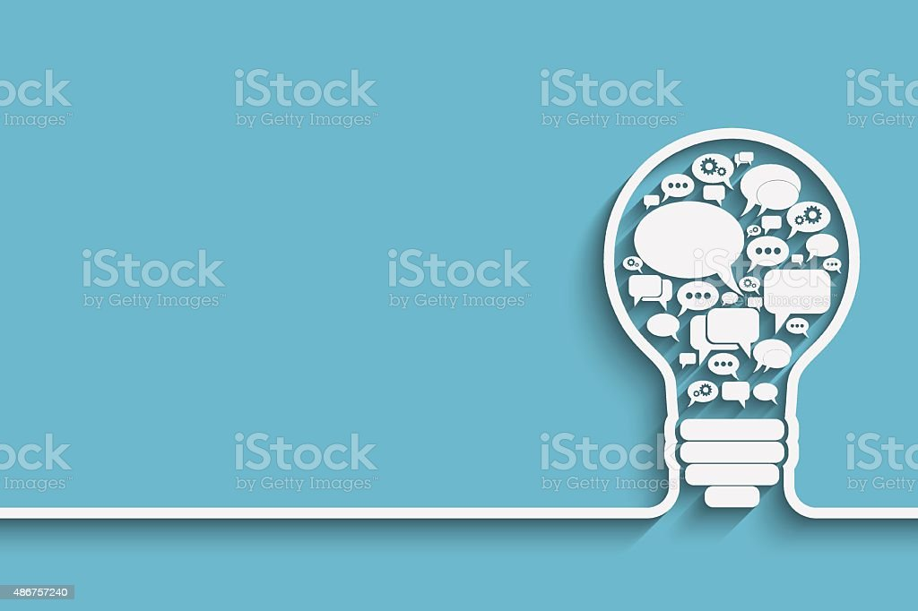 bulb with bubble speech vector art illustration