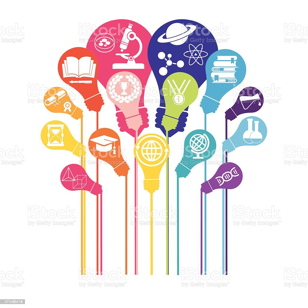 Bulb with icons of education and technology vector art illustration