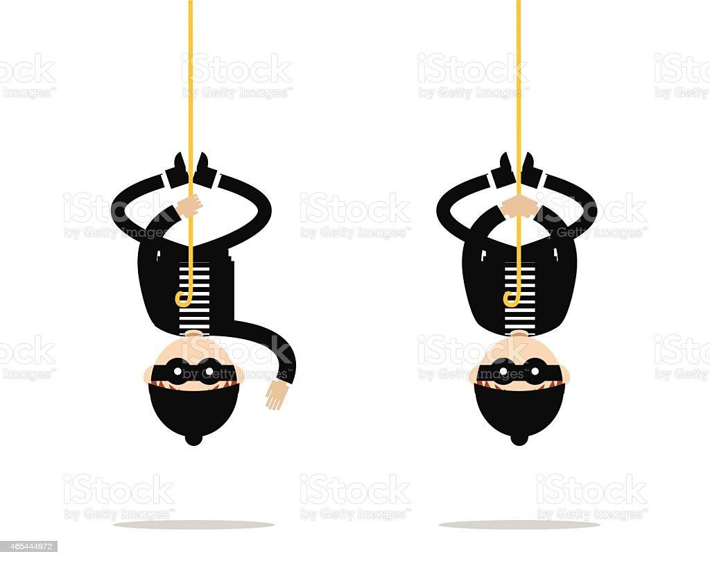 Bulgar hanging from the roof. vector art illustration