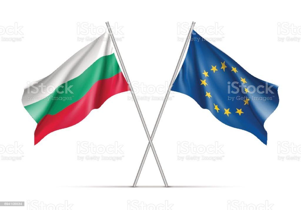 Bulgaria and European Union waving flags vector art illustration