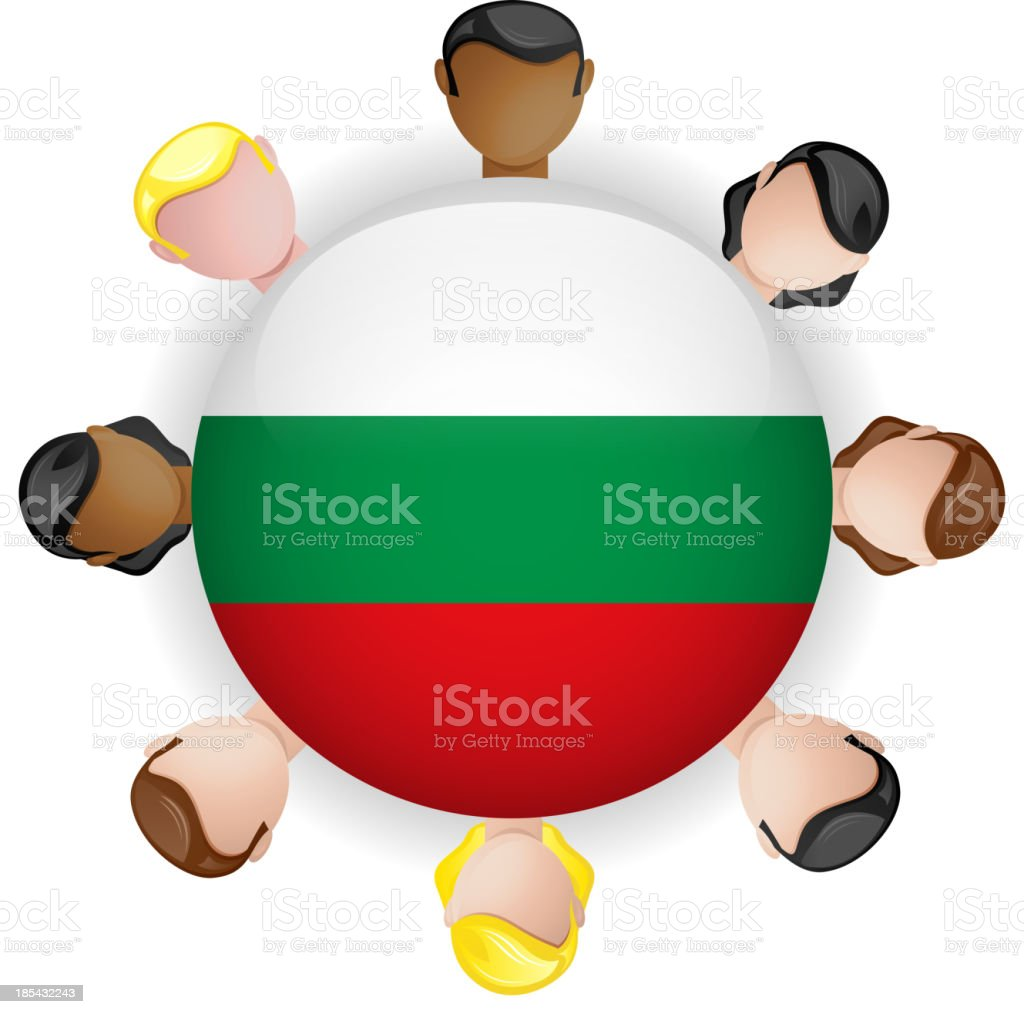Bulgaria Flag Button Teamwork People Group vector art illustration