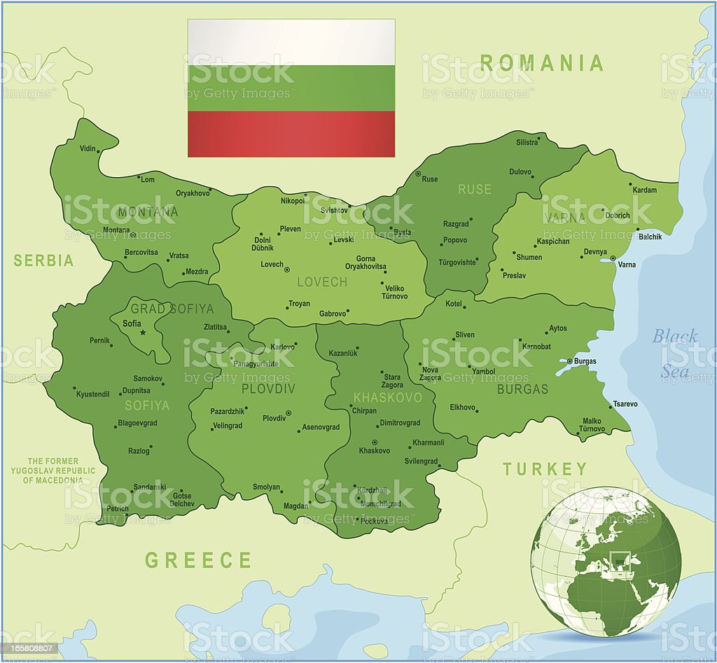 Bulgaria - green highly detailed map royalty-free stock vector art