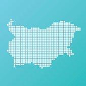 Bulgaria Map Basic Square Pattern Turquoise