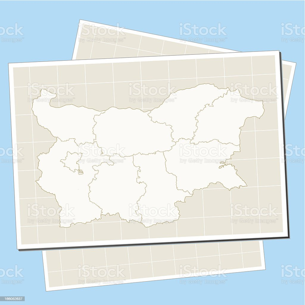 Bulgaria map on paper royalty-free stock vector art