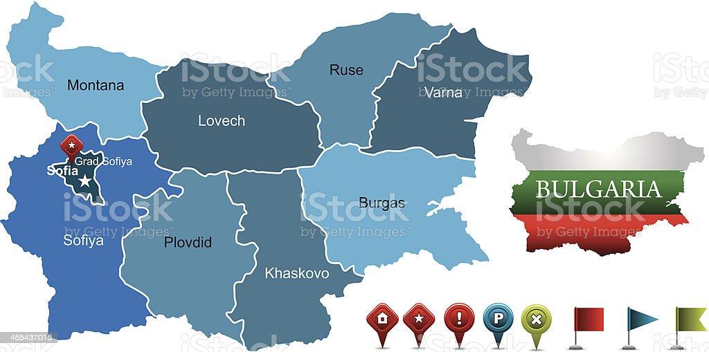 Bulgaria map vector art illustration