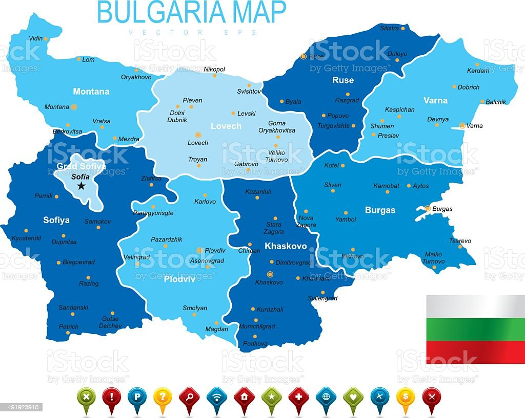 Bulgaria Map vector art illustration