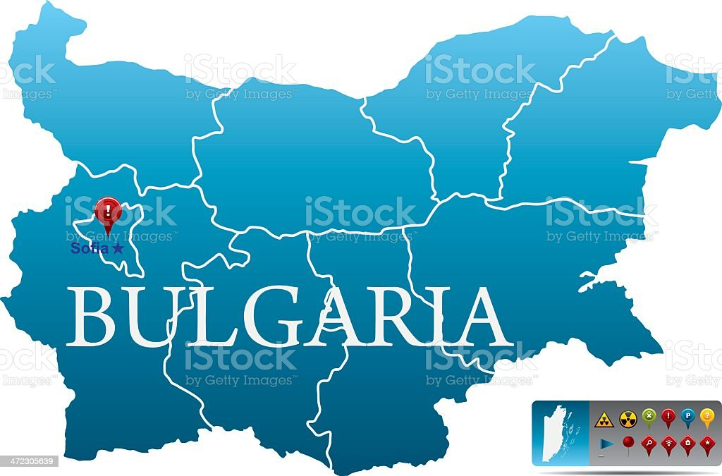 Bulgaria map with navigation icons vector art illustration