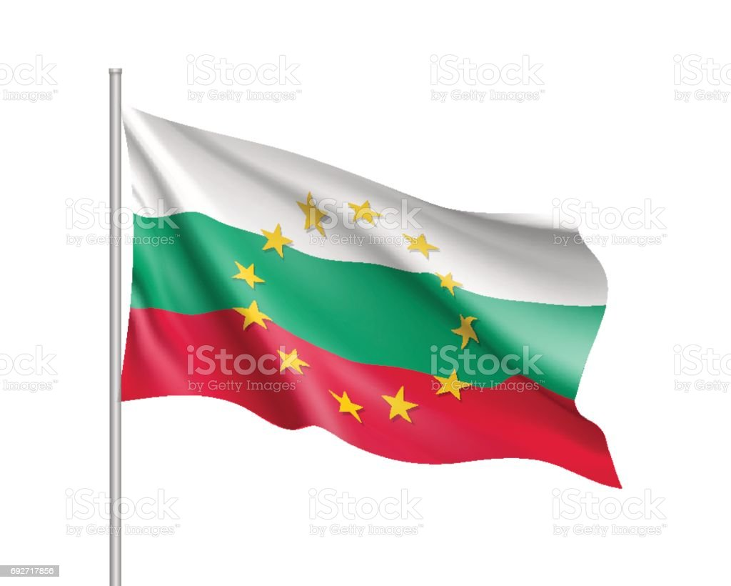 Bulgaria national flag with a circle of EU vector art illustration