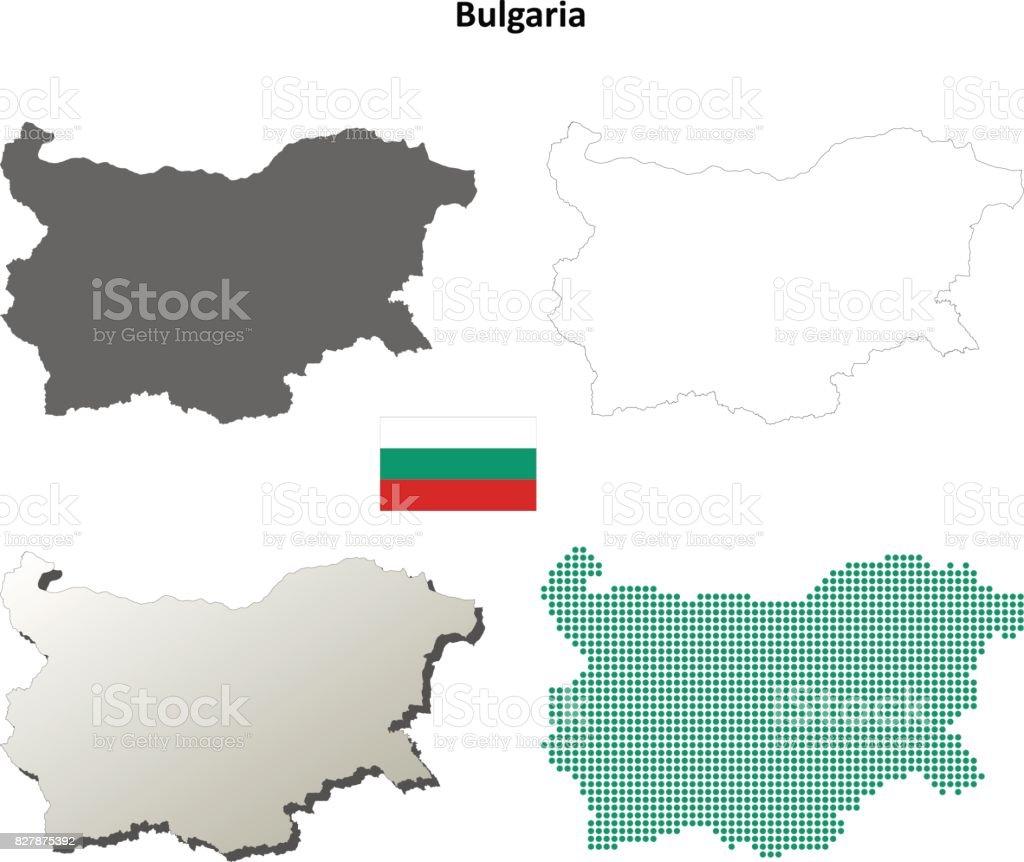 Bulgaria outline map set vector art illustration